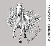Set Card Horse Black   White