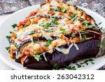 fan of eggplant  meat stews ... | Shutterstock . vector #263042312