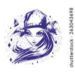 rockabilly tattoo sketch of... | Shutterstock .eps vector #263043698