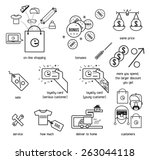 shopping icon set. shop with... | Shutterstock .eps vector #263044118