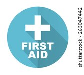 first aid blue flat icon   | Shutterstock . vector #263047442