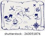 map of treasure island. doodle... | Shutterstock .eps vector #263051876