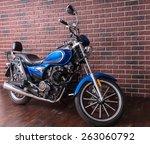 Blue Motorbike Parked On A...