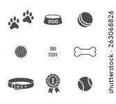Dog stuff set. Vector icons - stock vector