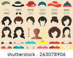 big vector set of dress up... | Shutterstock .eps vector #263078906