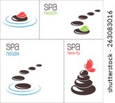 set of spa stones and pebbles   Shutterstock .eps vector #263083016