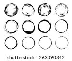 set of grunge round frames from ... | Shutterstock .eps vector #263090342