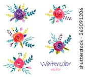 vector set of floral... | Shutterstock .eps vector #263091206