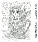 mermaid in tea cup coloring page | Shutterstock . vector #263101622