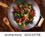Asian Wok Stir Fry Shot From...