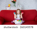 girl having fun playing with... | Shutterstock . vector #263145578