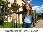 beautiful girl in front of an...   Shutterstock . vector #26316202