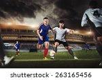 the football player kicks the... | Shutterstock . vector #263165456
