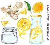 lemonade  lemons and ginger  a... | Shutterstock .eps vector #263174996