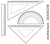 protractor ruler set vector    Shutterstock .eps vector #263182148