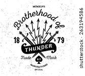 hipster vintage vector label  ... | Shutterstock .eps vector #263194586