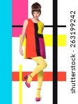 colorful concept in sixties... | Shutterstock . vector #263199242