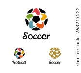 hand drawn logo with a soccer... | Shutterstock .eps vector #263219522