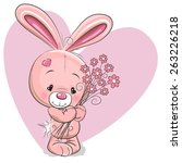 cute cartoon rabbit with... | Shutterstock .eps vector #263226218