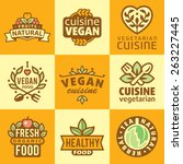 fresh organic labels and... | Shutterstock .eps vector #263227445