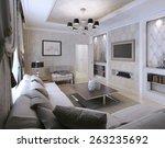 living room avangard style. 3d... | Shutterstock . vector #263235692