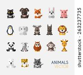 Set Of Cute Animals With Flat...