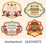 vintage labels with flower 3 | Shutterstock .eps vector #263243072