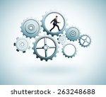 businessman runs in gear on a... | Shutterstock . vector #263248688