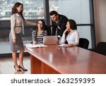 business partners discussing... | Shutterstock . vector #263259395