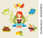 diet. choice of girls. healthy... | Shutterstock .eps vector #263264822