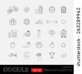 hand drawn icon set with... | Shutterstock .eps vector #263289962