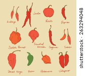 set of different chili peppers... | Shutterstock .eps vector #263294048
