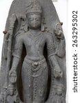 Small photo of KOLKATA, INDIA - FEBRUARY 15: Standing Hari-Hara, from 10th century found in Basalt Surajkund, Nalanda, Bihar now exposed in the Indian Museum in Kolkata, on February 15, 2014