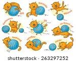 cartoon cat in different poses... | Shutterstock .eps vector #263297252