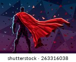 low poly superhero background.... | Shutterstock .eps vector #263316038
