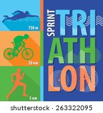 vector illustration triathlon ... | Shutterstock .eps vector #263322095