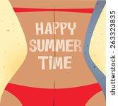 sexy girl with red bikini... | Shutterstock .eps vector #263323835