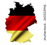 germany contour map with waving ... | Shutterstock . vector #263323946
