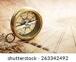 old compass on vintage map.... | Shutterstock . vector #263342492