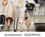 kitchen baking utensils against ... | Shutterstock . vector #263359415