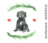 cane corso puppy illustration.... | Shutterstock .eps vector #263365412