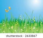 Flowers, grass and butterfly. A beautiful meadow! Ideally for your use - stock vector