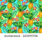 seamless exotic pattern with... | Shutterstock . vector #263395706