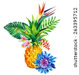 tropical floral composition... | Shutterstock . vector #263395712