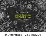 organic cosmetics  chalk board... | Shutterstock .eps vector #263400206