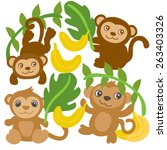 cute tropical monkeys and... | Shutterstock .eps vector #263403326