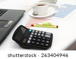 analyzing business investment... | Shutterstock . vector #263404946