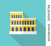 colosseum flat icon with long...
