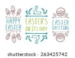 set of hand sketched easter... | Shutterstock .eps vector #263425742