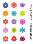 kids stickers flowers. vector... | Shutterstock .eps vector #263425772